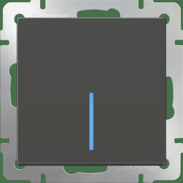 Выключатель одноклавишный с подсветкой (серо-коричневый) WL07-SW-1G-LED