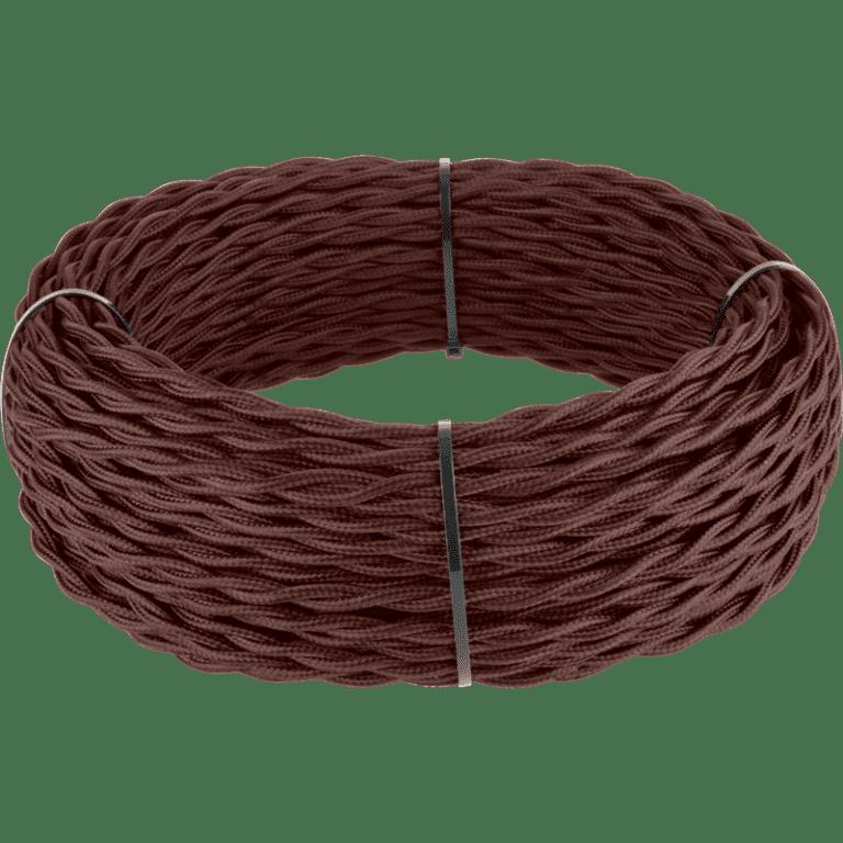 Ретро кабель витой 2х2,5 (итальянский орех) 50 м под заказ Ретро кабель витой  2х2,5  (итальянский орех)
