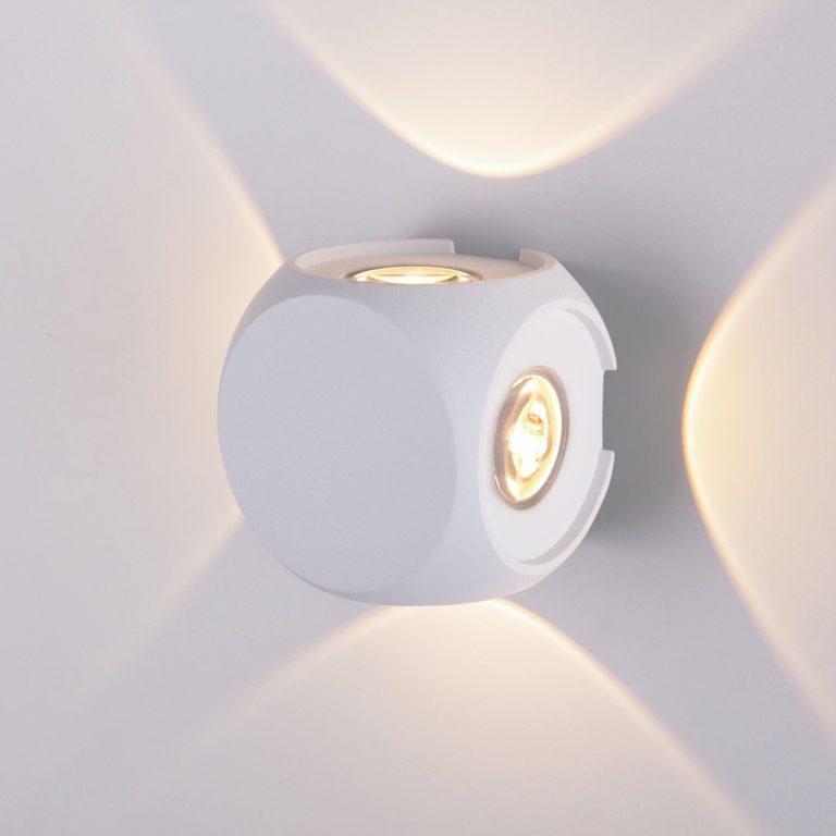 CUBE белый уличный настенный светодиодный светильник 1504 TECHNO LED