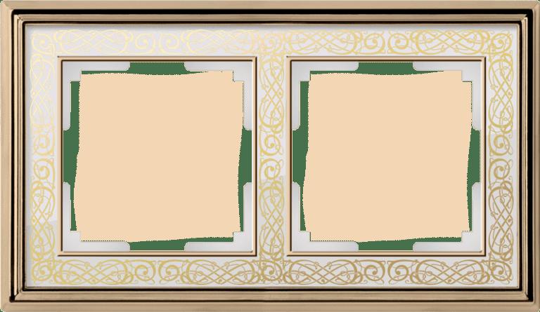 Рамка на 2 поста (золото/белый) WL77-Frame-02