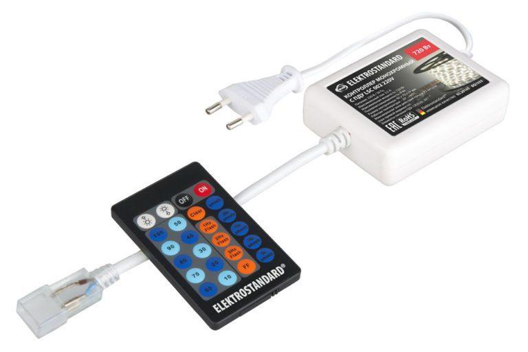 Контроллер для одноцветной светодиодной ленты 220V с ПДУ (радио) IP40 LSC 002