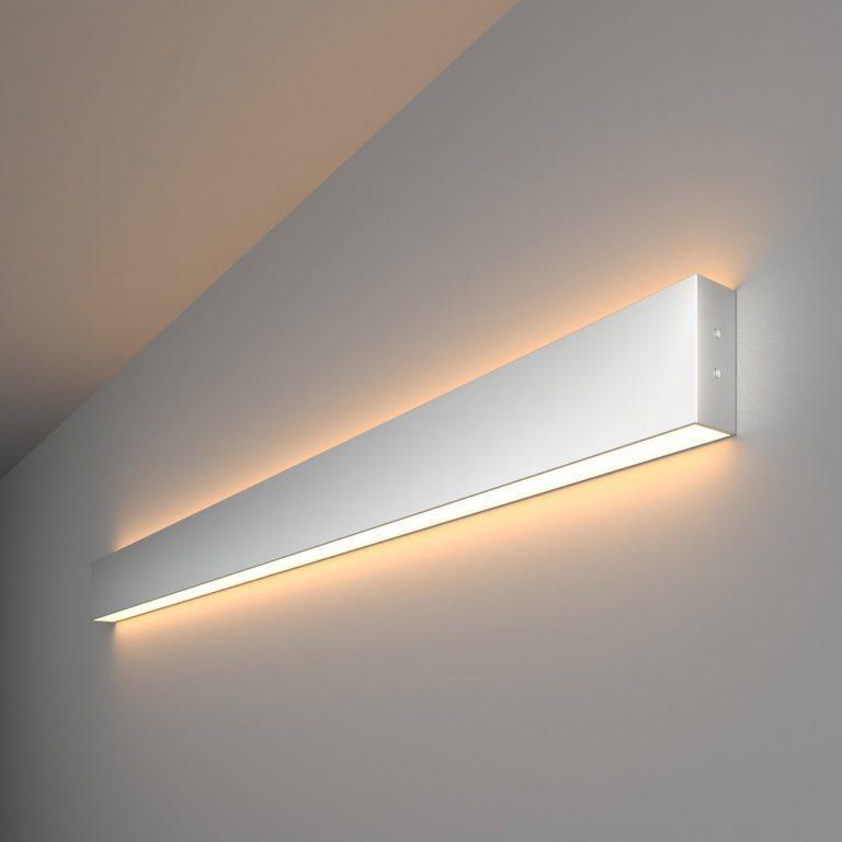 Линейный светодиодный накладной двусторонний светильник 103см 40Вт 3000К матовое серебро 101-100-40-103