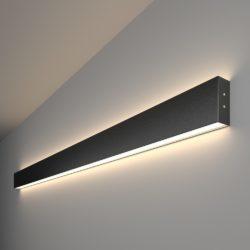 Линейный светодиодный накладной двусторонний светильник 128см 50Вт 4200К черная шагрень 101-100-40-128