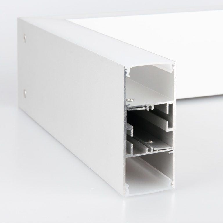 Линейный светодиодный накладной двусторонний светильник 53см 20Вт 3000К матовое серебро 101-100-40-53