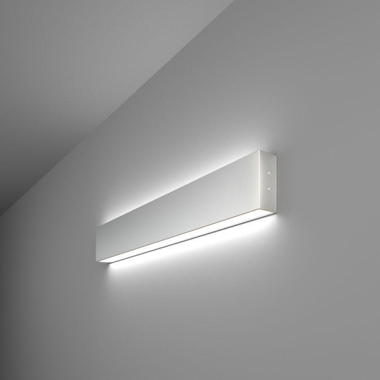 Линейный светодиодный накладной двусторонний светильник 53см 20Вт 6500К матовое серебро 101-100-40-53