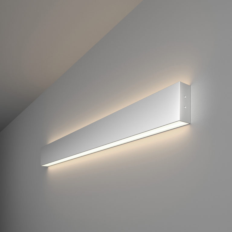 Линейный светодиодный накладной двусторонний светильник 78см 30Вт 4200К матовое серебро 101-100-40-78