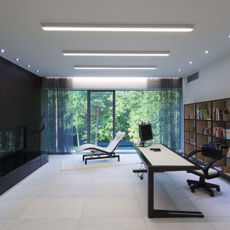 Линейный светодиодный накладной односторонний светильник 103см 20Вт 3000 матовое серебро 101-100-30-103
