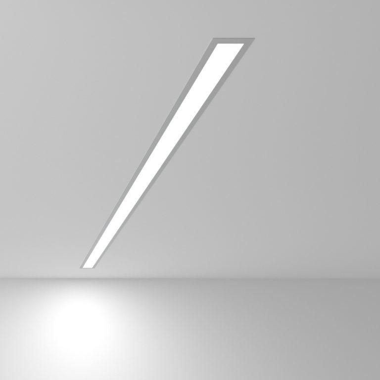 Линейный светодиодный встраиваемый светильник 128см 25Вт 6500К матовое серебро 101-300-128