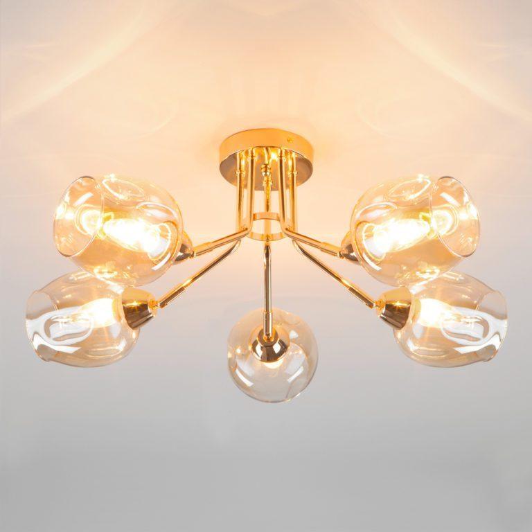Потолочная люстра со стеклянными плафонами 30164/5 золото
