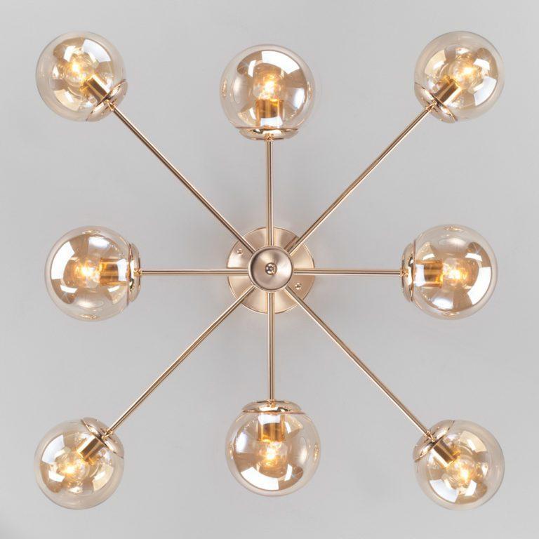 Потолочная люстра со стеклянными плафонами 30166/8 золото