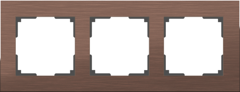 Рамка на 3 поста (коричневый алюминий) WL11-Frame-03