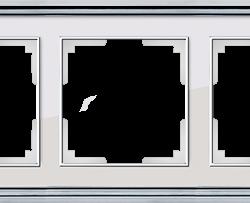 Рамка на 5 постов (хром/белый) WL17-Frame-05
