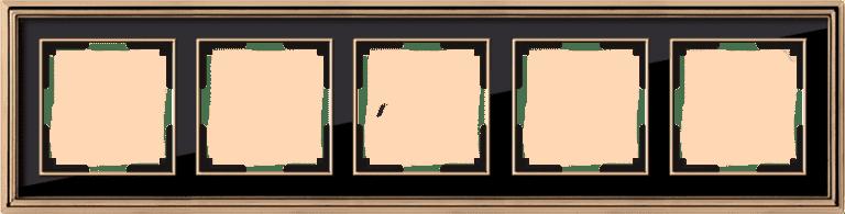 Рамка на 5 постов (золото/черный) WL17-Frame-05