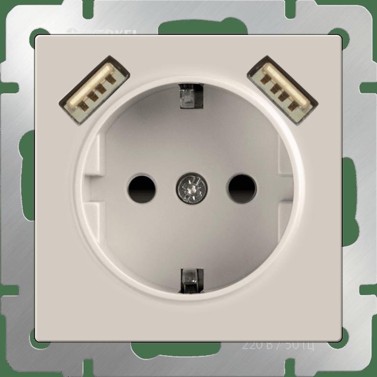 Розетка с заземлением, шторками и USBх2 (слоновая кость) WL03-SKGS-USBx2-IP20