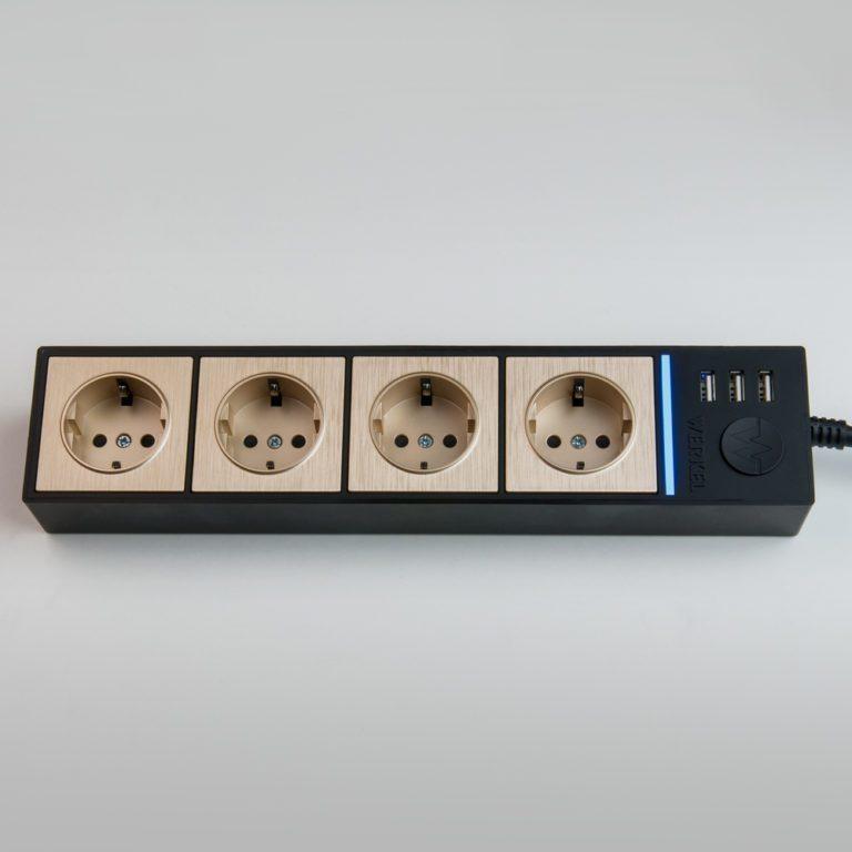 Розеточный блок 4-х местный + 3 USB черный/шампань рифленый WL20-04-03