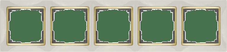 Рамка на 5  постов (слоновая кость/золото) WL03-Frame-05-ivory-GD