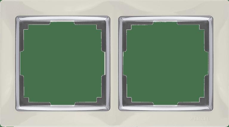 Рамка на 2 поста (слоновая кость/хром) WL03-Frame-02-ivory