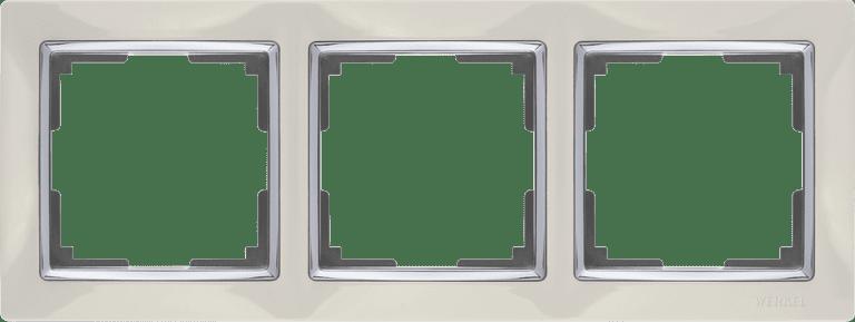 Рамка на 3 поста (слоновая кость/хром) WL03-Frame-03-ivory