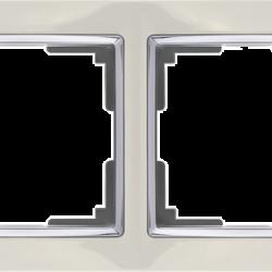 Рамка на 4 поста (слоновая кость/хром) WL03-Frame-04-ivory