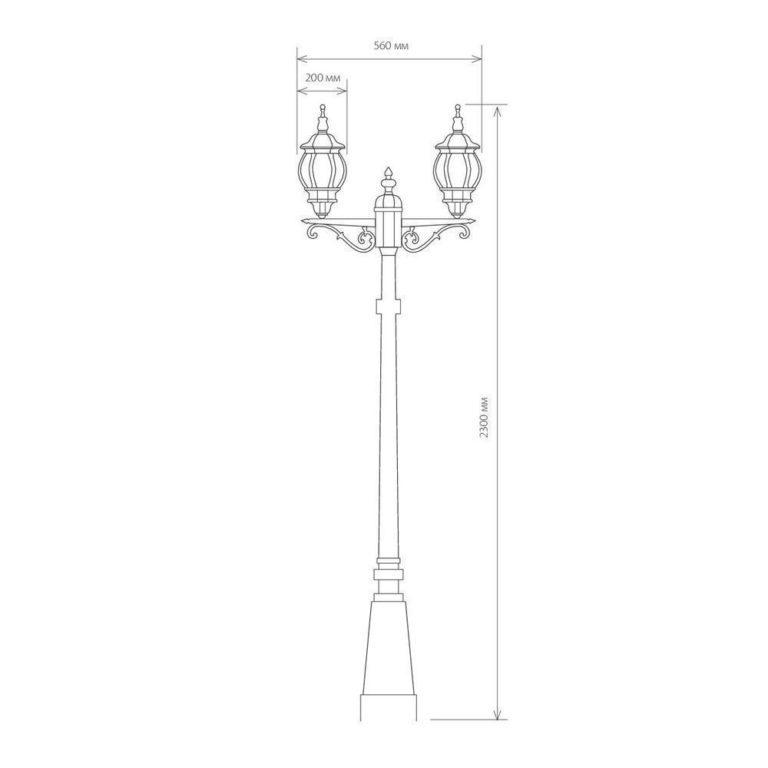 Уличный двухрожковый светильник на столбе IP33 NLG99HL004 черное золото