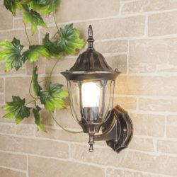 Уличный настенный светильник GL 1002U черное золото