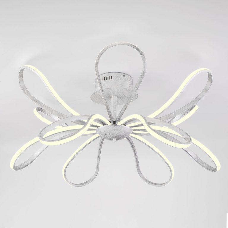 Светодиодный потолочный светильник с пультом управления 90134/12 белый с серебром