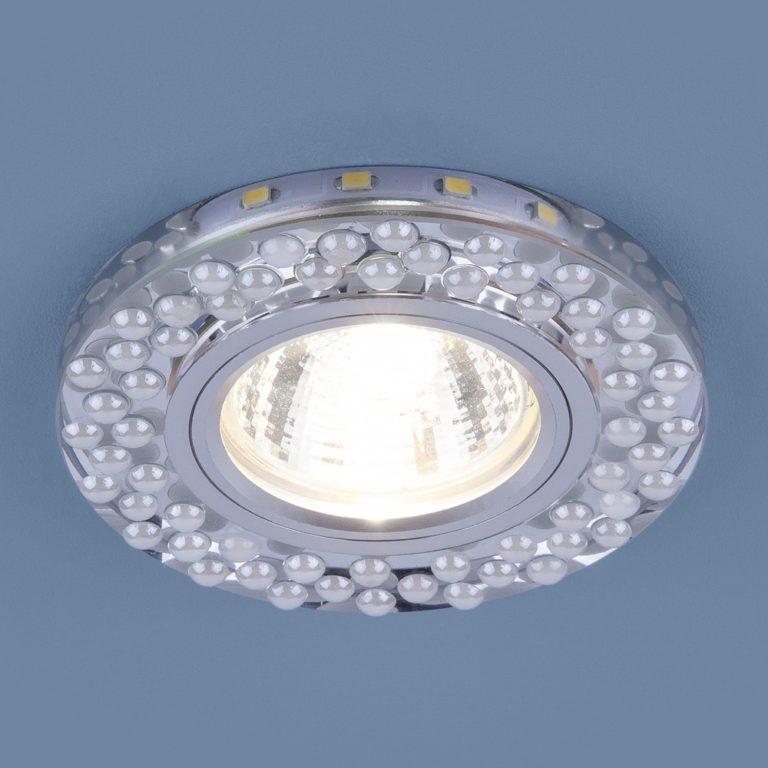 Встраиваемый точечный светильник с LED подсветкой 2194 MR16 SL/WH зеркальный/белый
