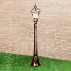Уличный светильник на столбе IP44 Capella F черное золото