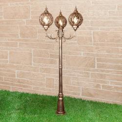 Уличный трехрожковый светильник на столбе IP44 Sirius F/3 черное золото