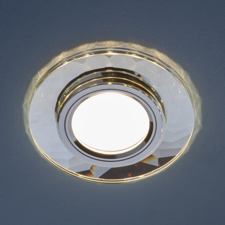 Встраиваемый точечный светильник со светодиодной подсветкой 2228 MR16 SL зеркальный/серебро