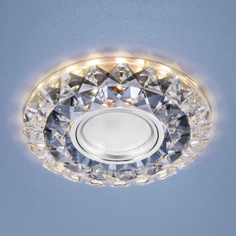 Встраиваемый точечный светильник со светодиодной подсветкой 2170 MR16 SBK CL дымчатый прозрачный