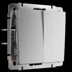 Выключатель двухклавишный проходной (cеребряный рифленый) WL09-SW-2G-2W