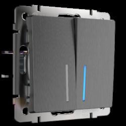 Выключатель двухклавишный проходной с подсветкой (графит рифленый) WL04-SW-2G-2W-LED