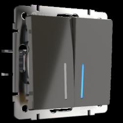 Выключатель двухклавишный проходной с подсветкой (серо-коричневый) WL07-SW-2G-2W-LED