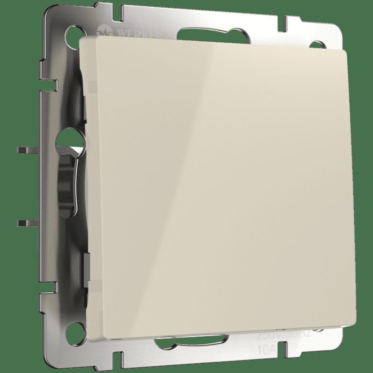 Выключатель одноклавишный проходной (слоновая кость) WL03-SW-1G-2W-ivory