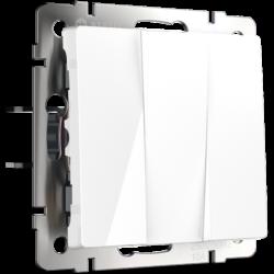 Выключатель трехклавишный (белый) WL01-SW-3G