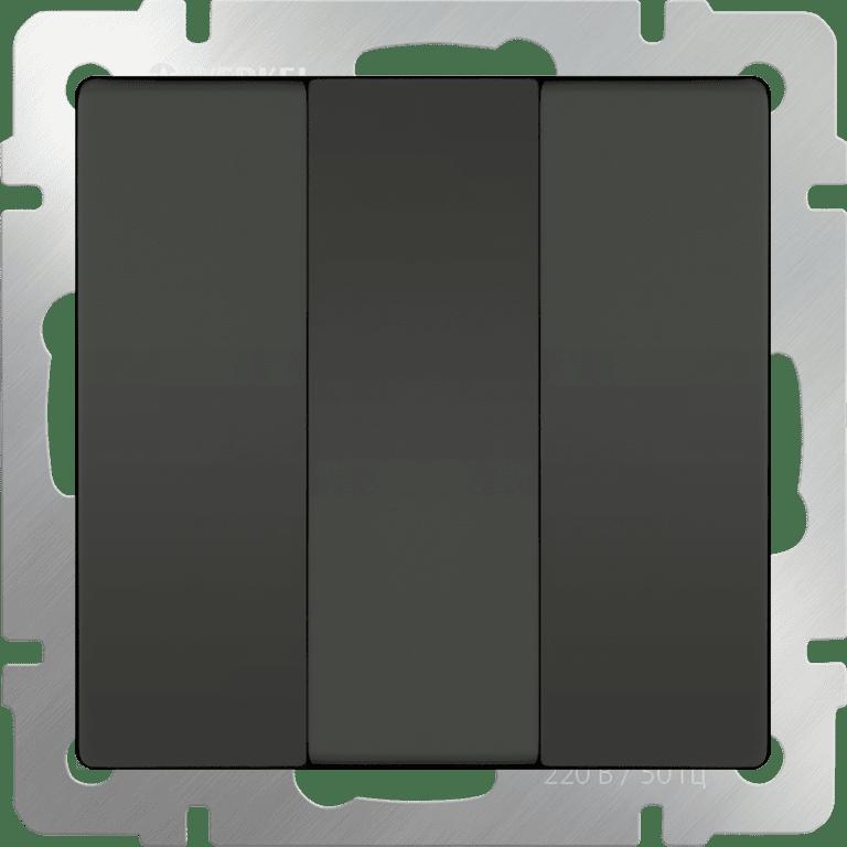 Выключатель трехклавишный  (серо-коричневый) WL07-SW-3G