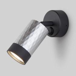 Настенный светильник с выключателем 20088/1 черный/серебро