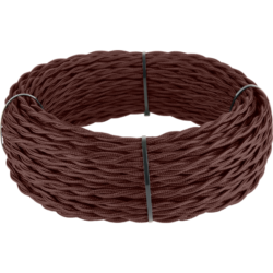 Ретро кабель витой 2х1,5 (итальянский орех) 20 м (под заказ) Ретро кабель витой  2х1,5  (итальянский орех)