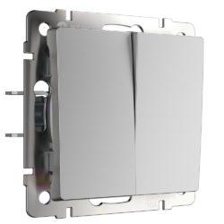 Выключатель двухклавишный проходной (серебряный) W1122006