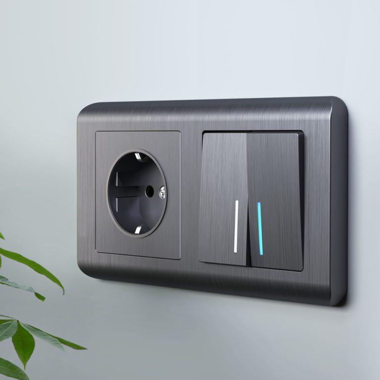 Выключатель двухклавишный с подсветкой (графит рифленый) W1120104