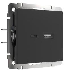 Розетка USB тип A+С (черный матовый) W1171808