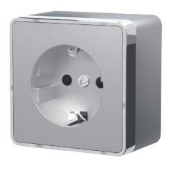 Розетка с заземлением и шторками Gallant (серебряный) W5071106