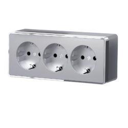 Розетка тройная с заземлением и шторками Gallant (серебряный) W5073106