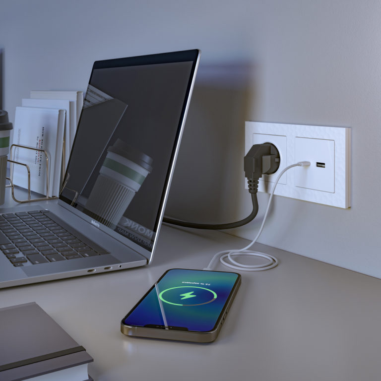 Розетка USB тип A+С (белый) W1171801