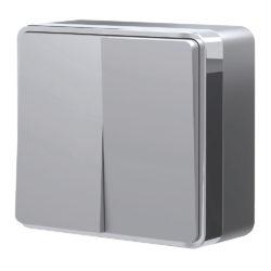 Выключатель двухклавишный Gallant (серебряный) W5020006