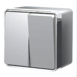 Выключатель двухклавишный влагозащищенный Gallant (серебряный) W5020206
