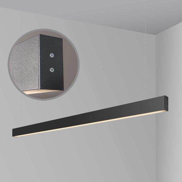 Линейный светодиодный подвесной двусторонний светильник 128см 50Вт 4200К черная шагрень 101-200-40-128