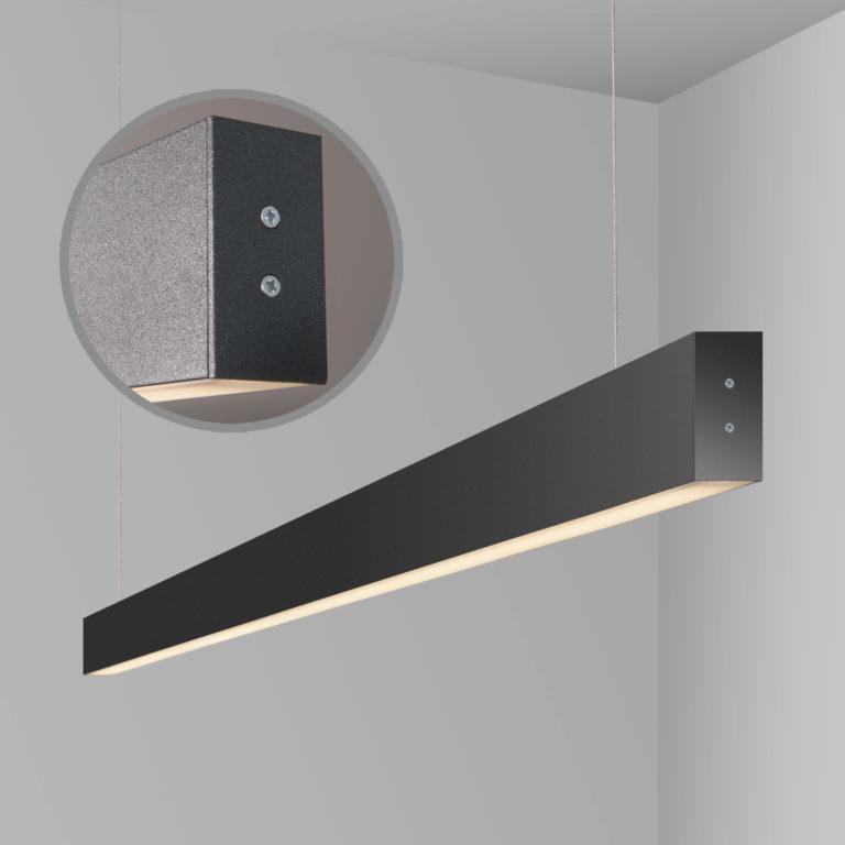 Линейный светодиодный подвесной двусторонний светильник 128см 50Вт 6500К черная шагрень 101-200-40-128
