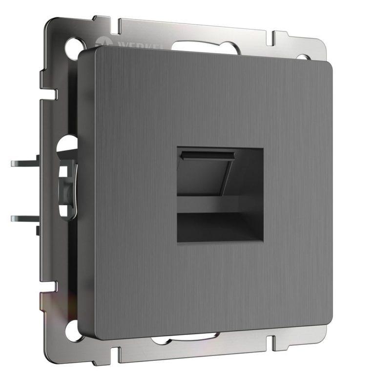 Розетка Ethernet RJ-45 (графит рифленый) W1181004